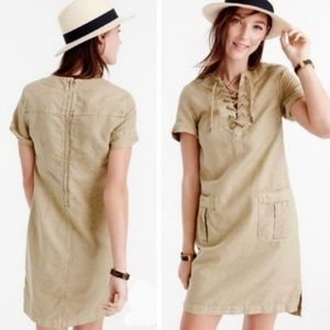 J. Crew Lace Up Military Style Cargo Dress size 0